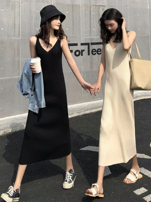 taobao agent Autumn 2021 new style royal sister, light mature style, sexy outer wear suspender long skirt, waist and thin temperament dress women