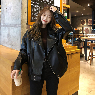 taobao agent Leather jacket female spring and autumn 2021 new Korean version of loose casual wild fried street pu motorcycle jacket ins tide
