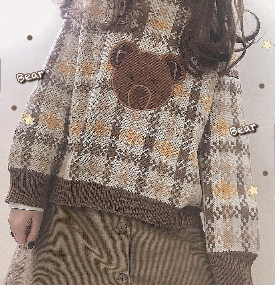 @自制 小熊 彩格 毛衣古着感日系可爱学生少女短款宽松套头针织衫