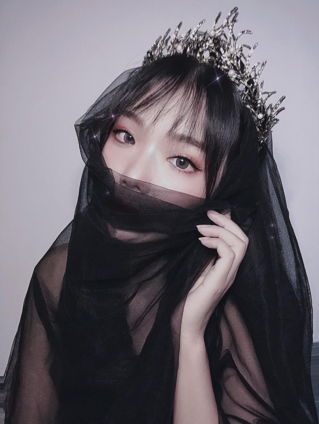 Lovely專注飾品 簡約黑色頭紗萬圣節拍照短款復古暗黑韓新娘新款拖尾頭紗寫真cos