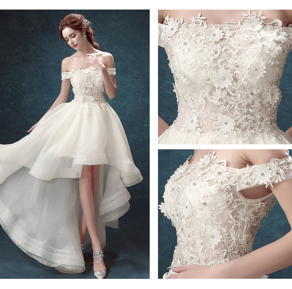 Online Wedding Dresses You Can Return: French Lace Off Shoulder High Low Princess Bride Wedding