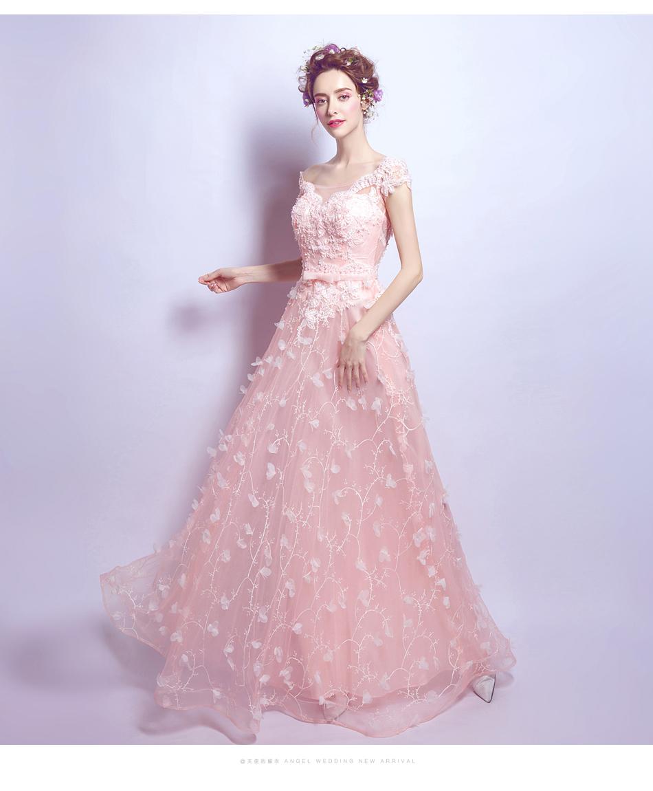 Powder Pink Wedding Dresses: Pink Lace Petal Bridal Gown Wedding Dress Butterfly
