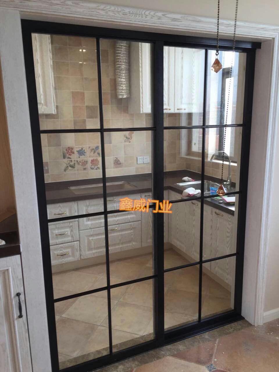 爆款定制客厅阳台厨房推拉门隔断移门拼格玻璃推拉门钢化玻璃移门