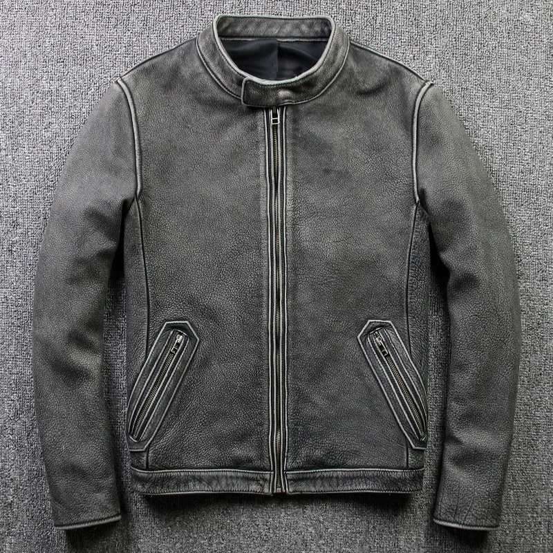 Autumn And Winter Retro Top Layer Leather Locomotive Leather Jacket