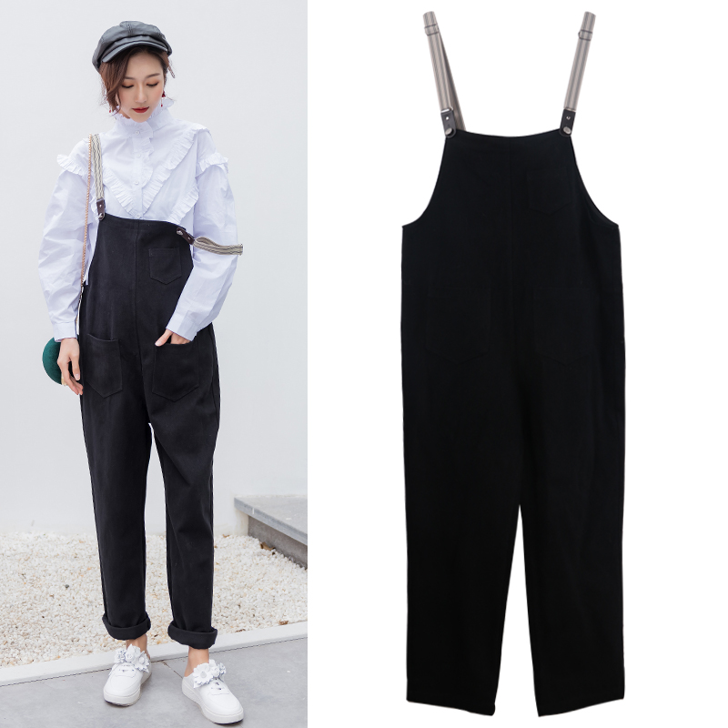 cd1be752028 Bib pregnant women spring and autumn fashion tide Mom new 2019 loose  pregnancy 3-9 months Sling jumpsuit