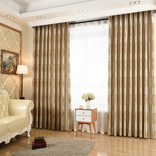 European jacquard curtain fabric thickened living room finished curtains blackout bedroom window window French window flat curtain specials