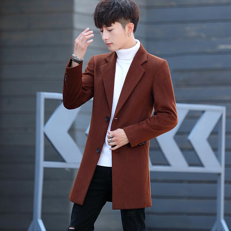 冬季风衣男韩版羊毛呢大衣男中长款呢子外套潮流2018新款妮子加厚
