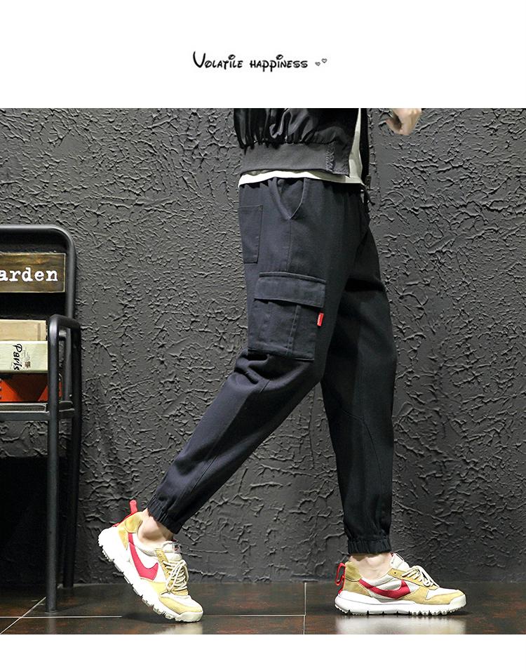 男士工装日系潮流休闲裤小脚哈伦裤K1826 不加绒-P48加绒58