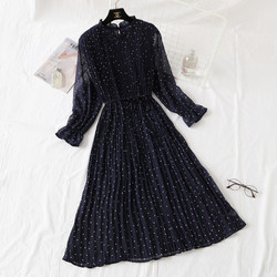 Polka Dot Dress 2021 new autumn and winter dress French retro floral chiffon long skirt loose a word show thin girl