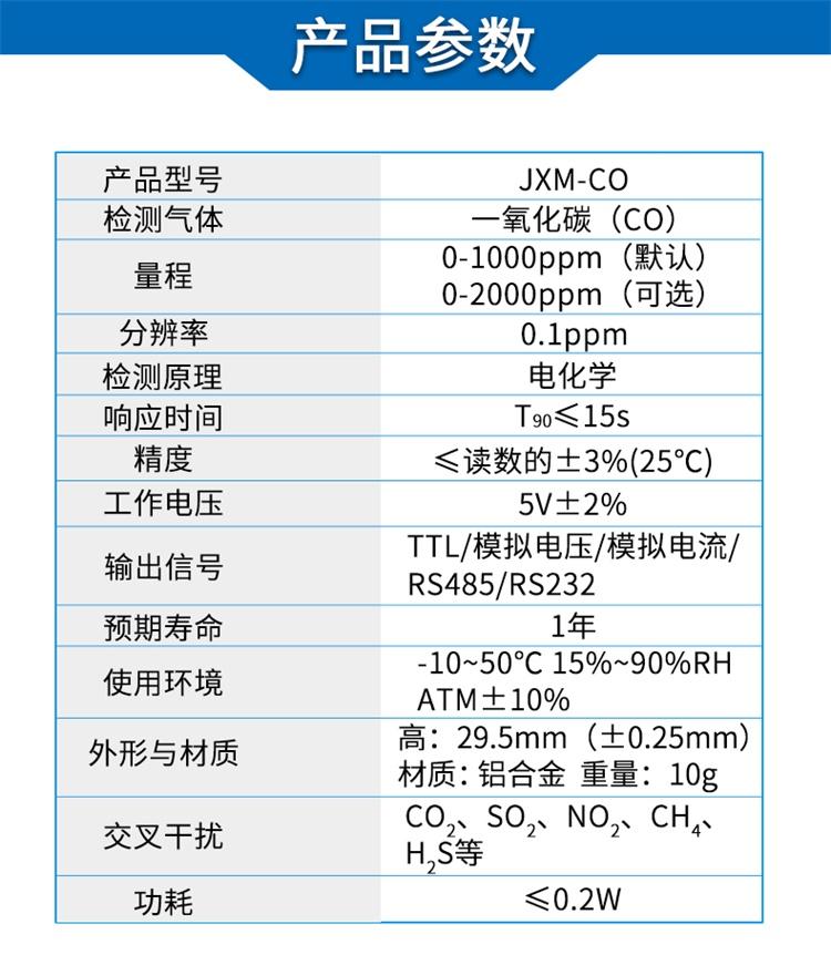 电化学一氧化碳传感器