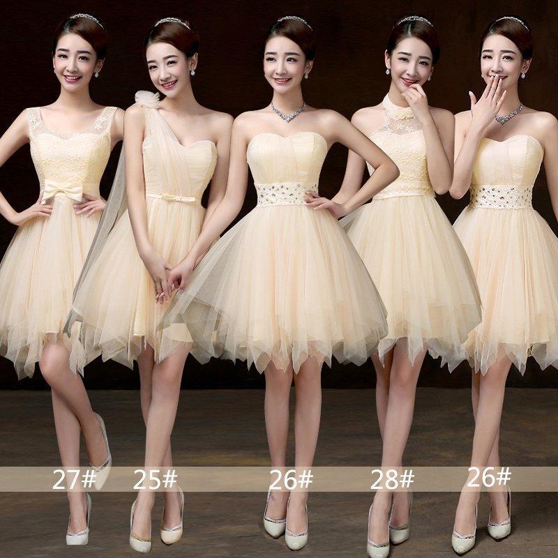 伴娘团礼服短款蓬蓬裙韩式不规则伴娘服姐妹裙毕业活动演出小礼服