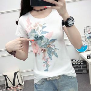 刺绣T恤女短袖2018新款夏装欧洲站修身白色钉珠亮片欧货上衣服潮