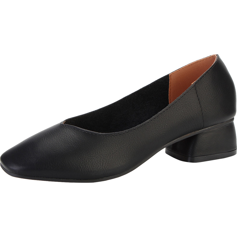 帝妮高春秋款女鞋一脚蹬粗跟杏色单鞋复古时尚裸色中跟方头奶奶鞋_领取70元天猫超市优惠券