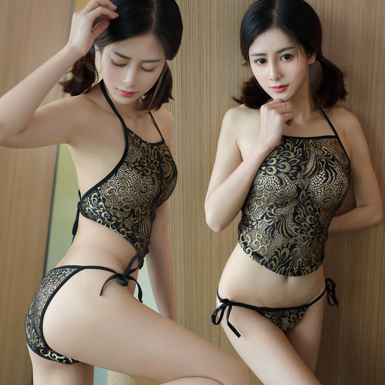 b74bb5b75 Sexy lingerie lady nightdress lace hanging neck bellyband pajamas ...
