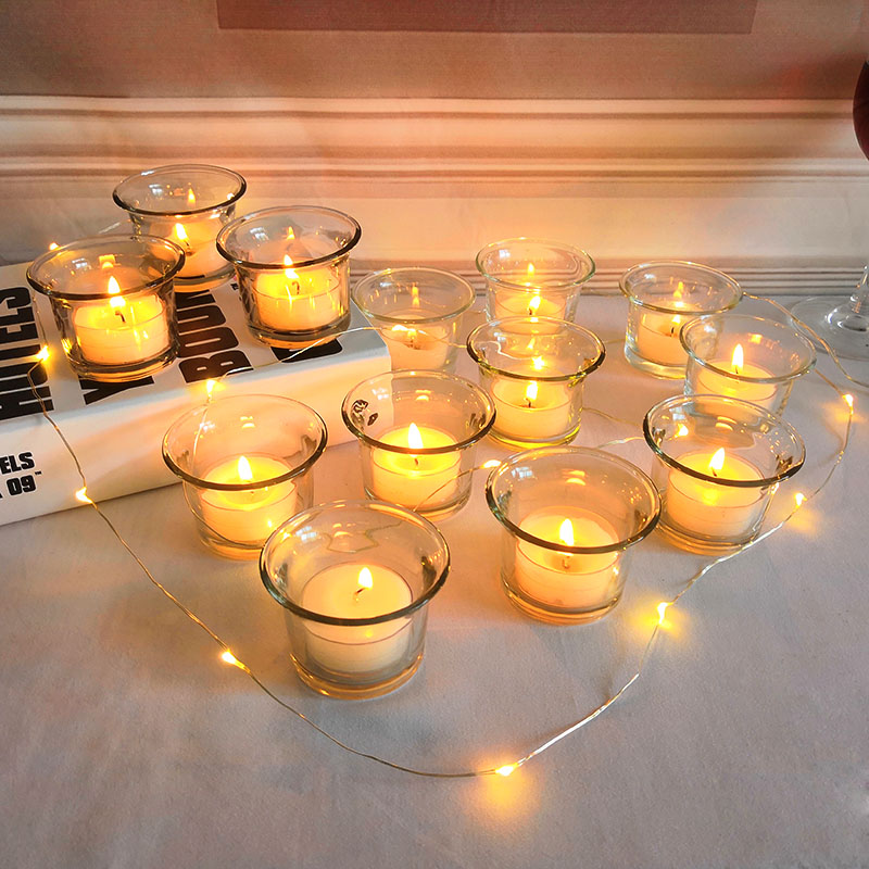 Windproof Glass Candlestick Romantic Candlelight Dinner Wedding Birthday Candle Cup Pendulum Bar Creative Small Decoration
