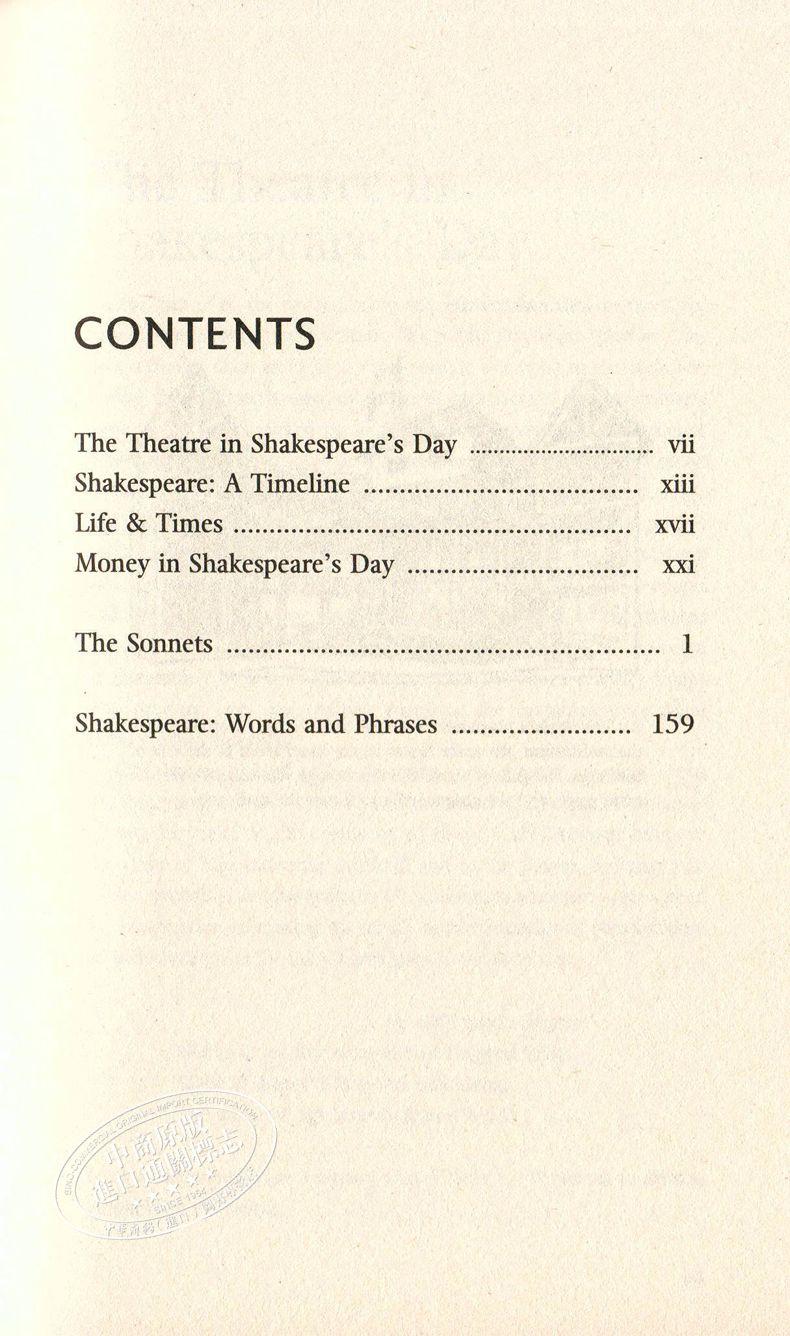 [文閲原版]柯林斯經典文學:十四行詩 英文原版 Collins Classics: The Sonnets 英文文學 莎士比亞 經典文學