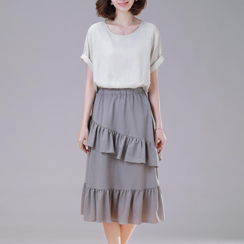 雪纺裙子裙女迪赛尼斯2019春夏新款印花半身边不规则高腰中长荷叶