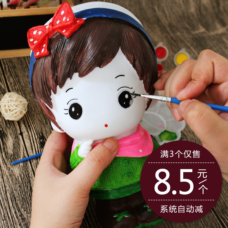 Children Coloring Fall Not Bad Plaster Doll Piggy Bank Slush Ceramic White Embryo Painting Mold Painted