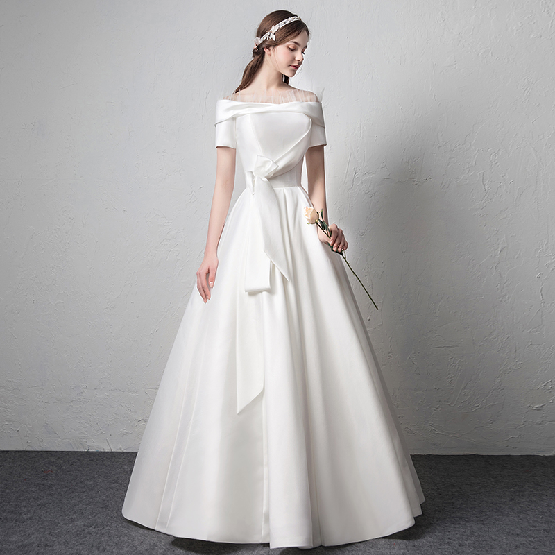 Satin wedding dress 2018 new spring and summer bride married Europe ...