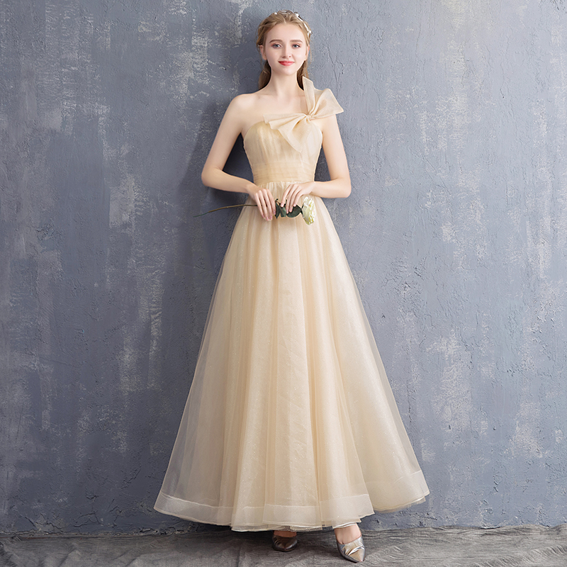 0c2e481e89924 Dress skirt female 2019 new Champagne Gold dignified atmosphere in the long  section of the bridesmaid host banquet evening dress