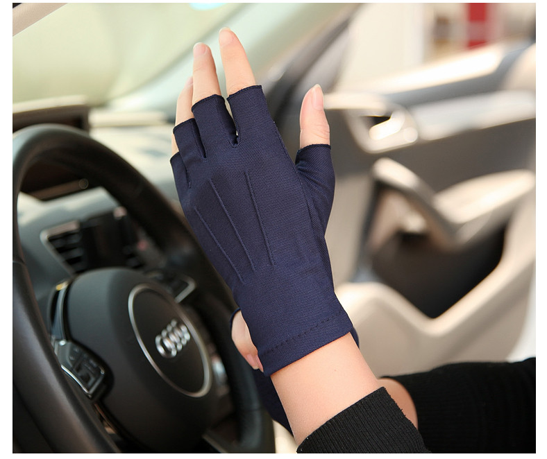 春夏男女通用防晒防滑吸汗透气半指手套驾驶开车钓鱼露指手套Z104
