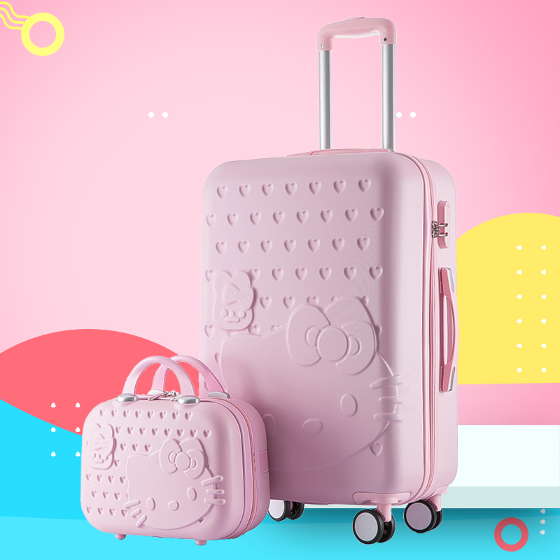 TangFei Cartoon Printing Scratch-Resistant Trolley case Female Small Fresh College Student Suitcase 24 inch Suitcase Color : Red