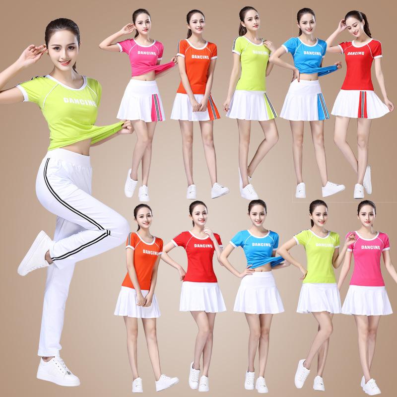 杨丽萍广场舞服装新款套装夏天短袖健身运动装团队演出跳舞蹈服女