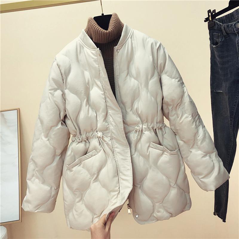 棉衣外套立领女中长款2019冬季新款收腰菱格棉袄加厚a棉衣棉服羽绒