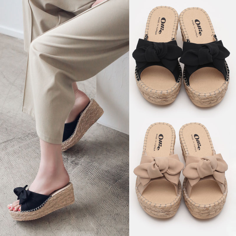 5fe62978baf6 South Korea Dongdaemun women s shoes summer models Ollie straw pattern bow  slope with fish mouth high heel word style sandals