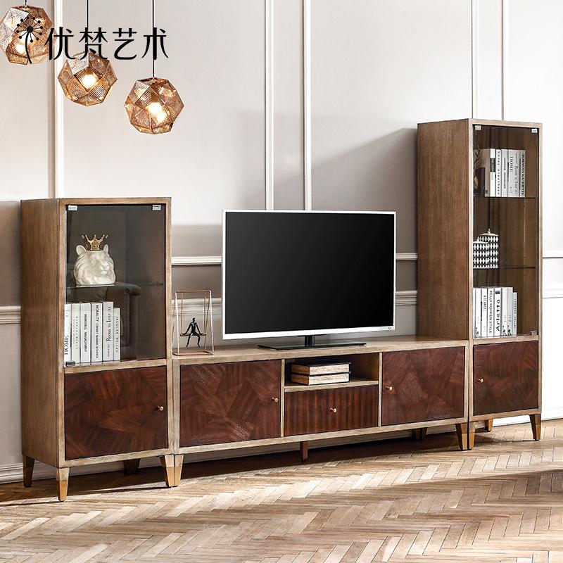 優梵藝術Light簡約美式小戶型客廳電視機邊柜家用組合墻裝飾立柜