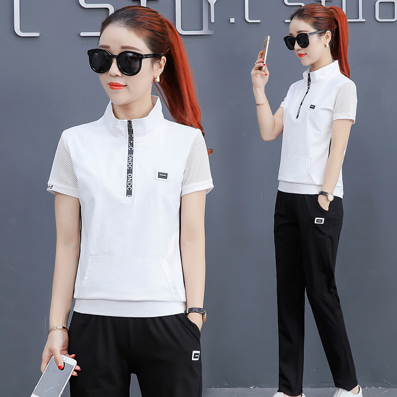 4443962ce93b Summer sports suit female summer 2018 new fashion Korean version of the  loose short-sleeved trousers casual wear two sets ...