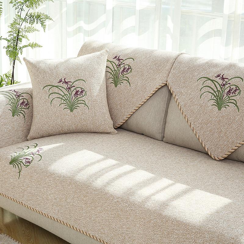Nordic Sofa Cushion Fabric Four Seasons Simple Solid Wood Cushion Modern  Universal Summer Non Slip Sofa Cover Sofa Towel Cover