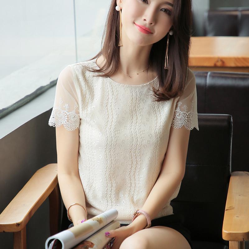 女装夏装女2019新款雪纺上衣蕾丝镂空网纱超仙短袖衫韩版洋气小衫