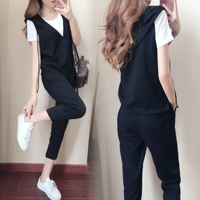 f2aff9d1d948 2018 summer new casual clothes sports suit female summer Korean fashion  short-sleeved pants pants two sets ...