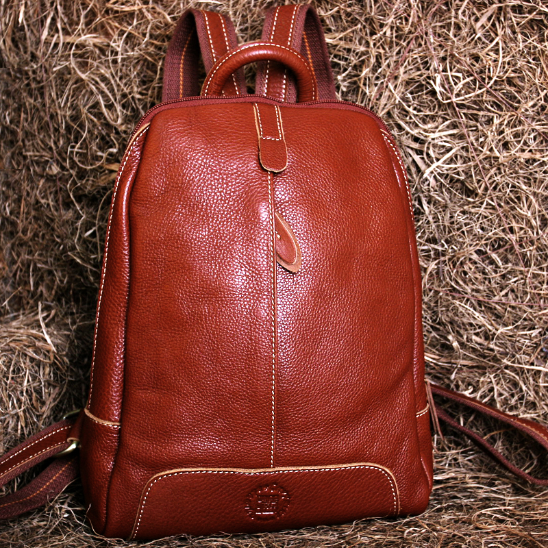 Tibetan leather handbags college wind shoulder bag female leather Korean  tide simple casual leather small backpack · Zoom · lightbox moreview ... a60f26302e