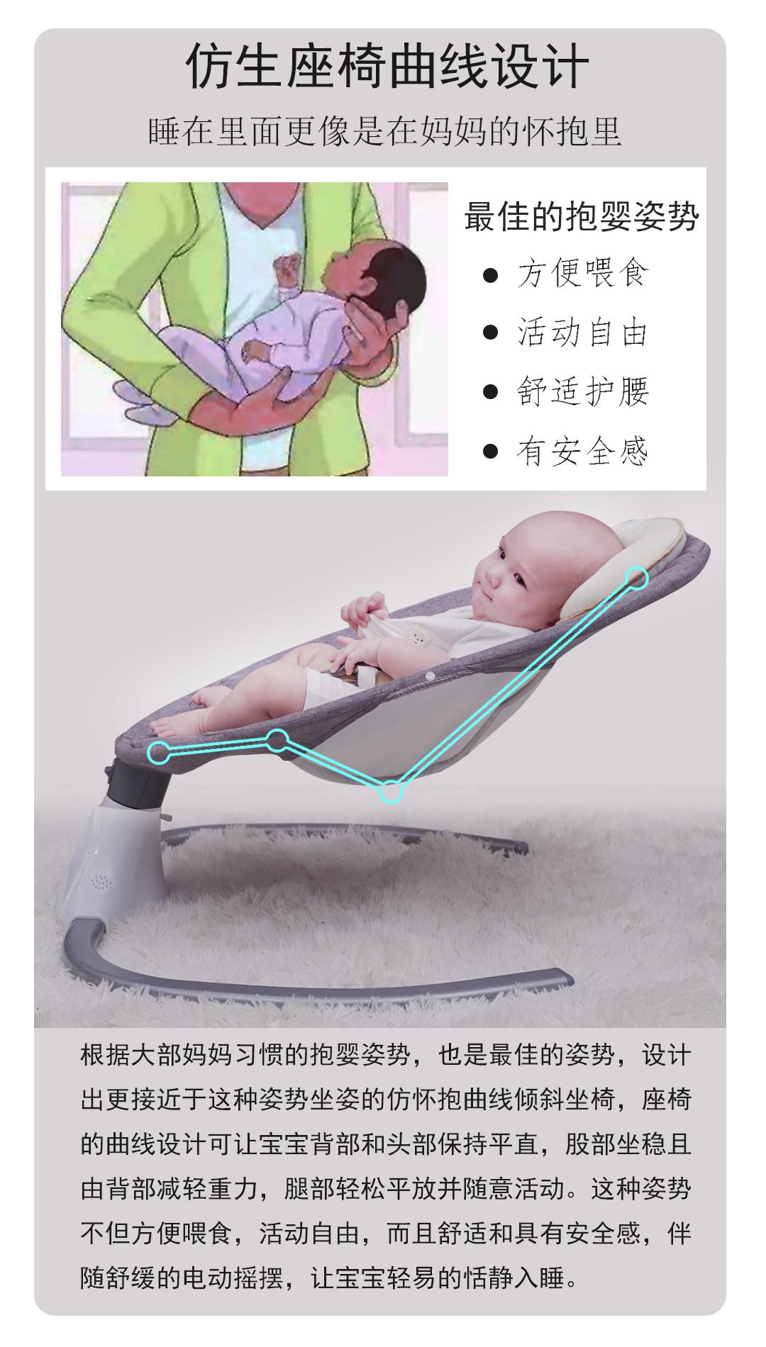 美国出口品质婴儿摇摇椅电动秋韆安抚椅宝宝哄睡哄娃神器躺椅摇篮详细照片