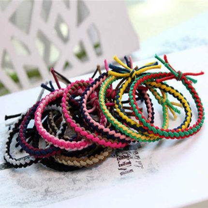 20根装韩国发饰头饰品麻花编织发圈发绳皮筋手绳手链头绳手带