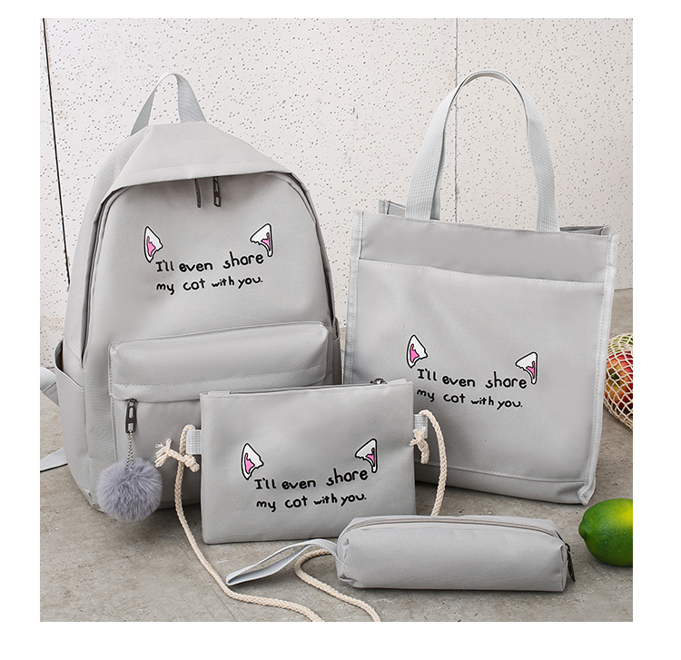 Cute WeekendTravel Bag School Backpack for Girls Canvas Fashion Casual Four Piece Set Letter Bags Yellow one size 31