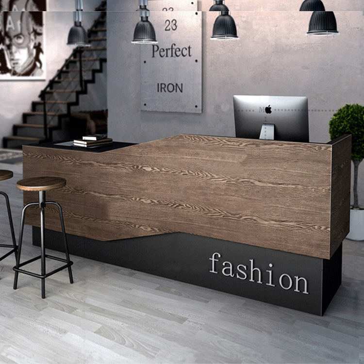Industrial wind retro checkout counter at the clothing store cafe  barbershop bar counter front Desk reception Desk corner