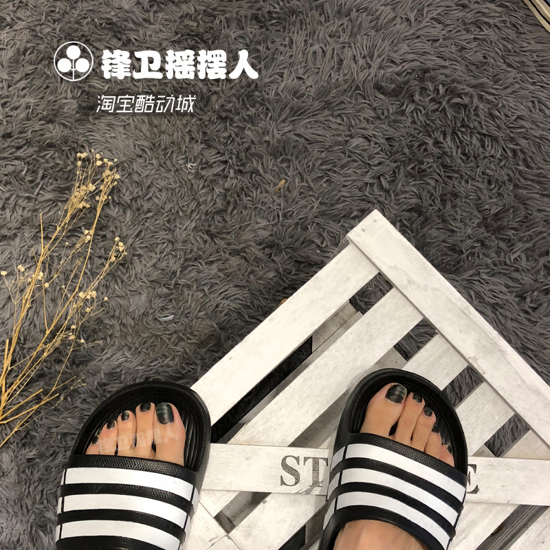 047dc22a1a29 ... Adidas Duramo Slide black and white bar European and American style  casual slippers G15890 U43664