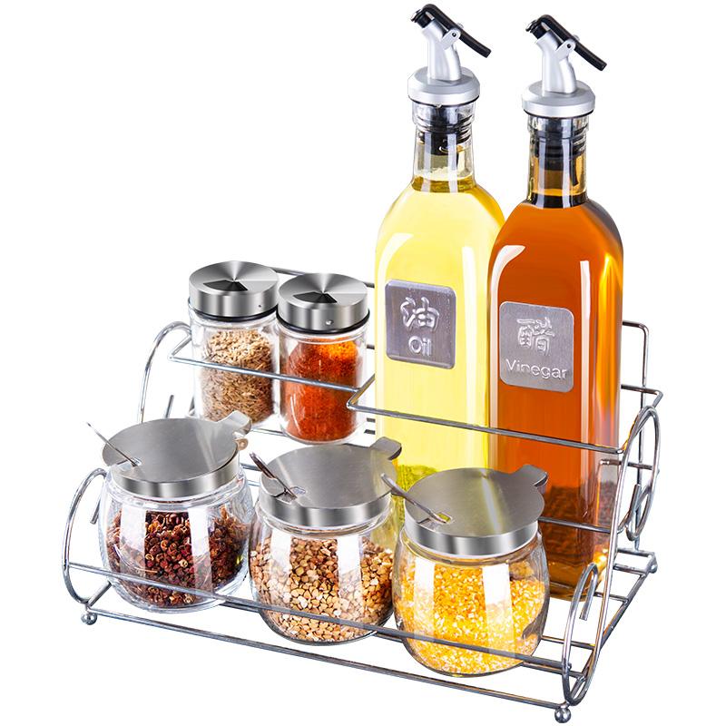 廚房調味罐鹽罐玻璃罐子調料盒油壺家用調味料盒調料瓶套裝組合裝