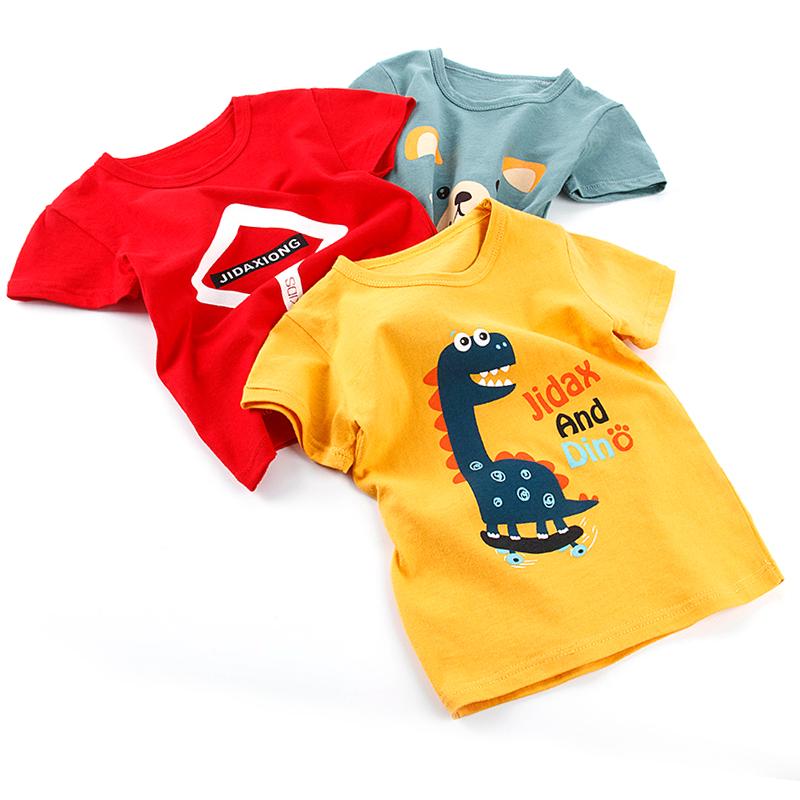 夏装男童女童短袖t恤 纯棉宝宝韩版中大童儿童男孩半袖上衣打底衫