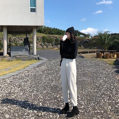 A7seven 加绒加厚白色牛仔萝卜裤女冬季韩版宽松显瘦休闲哈伦裤子