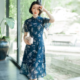 Plus size women's summer improved version of cheongsam, fat, floral, Chinese style, age-reducing and thin, western style chiffon Hanfu dress
