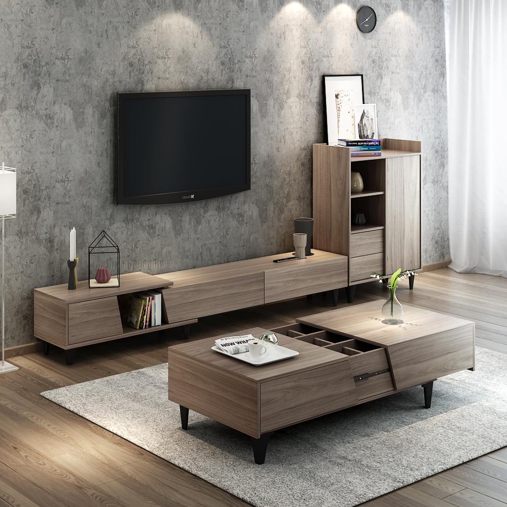 優木良匠 簡約現代客廳茶幾電視柜組合 可伸縮木質電視柜邊柜套裝