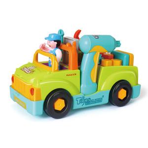 汇乐玩具车儿童可拆卸玩具工程车电动拧螺丝组装玩具男女孩18个月