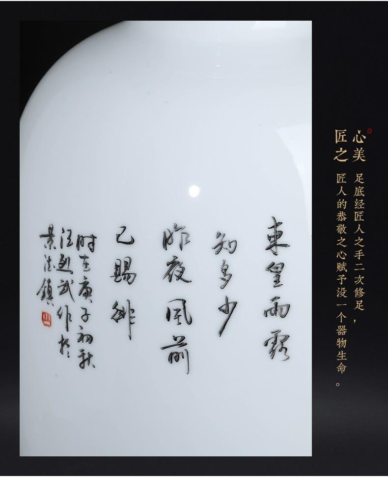 景德镇陶瓷器大师手绘粉彩花鸟瓶中式客厅玄关电视柜插花装饰摆件