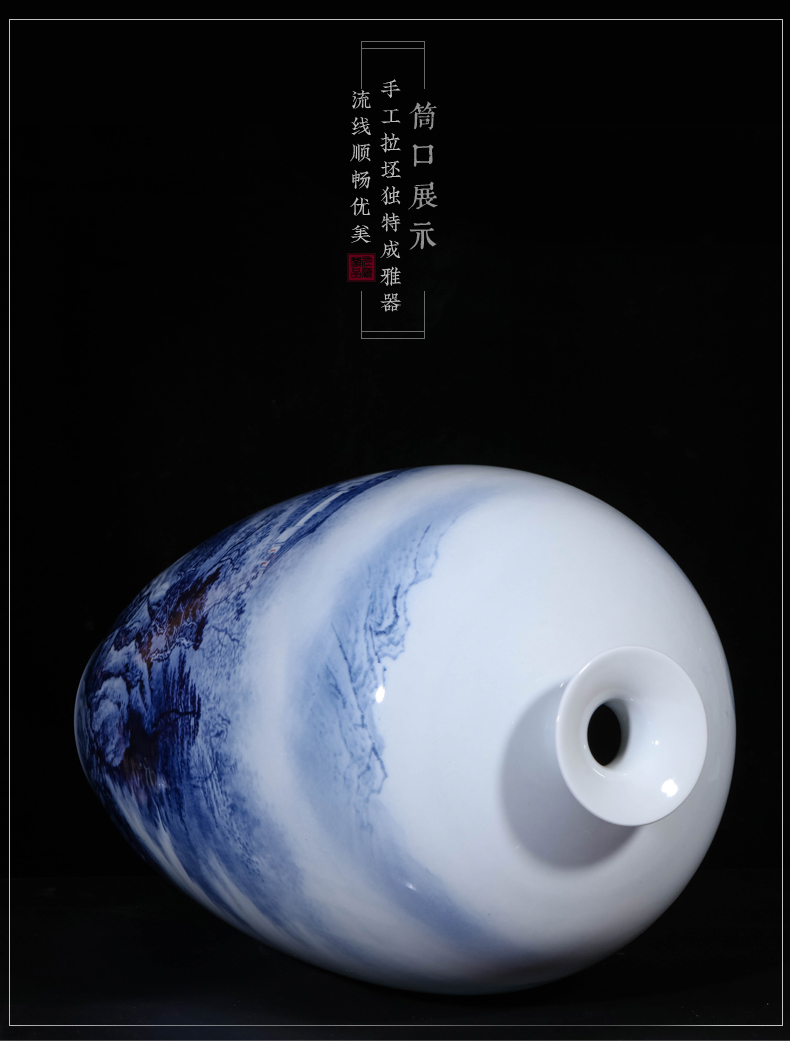 Jingdezhen ceramic dong - Ming li hand - made scenery of blue and white porcelain vase Chinese sitting room porch TV ark, furnishing articles