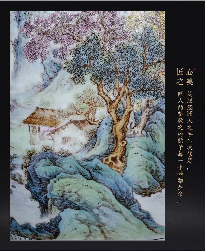 Master hand draw pastel landscape painting and calligraphy tube of jingdezhen ceramics Chinese style living room TV cabinet porch is decorated furnishing articles