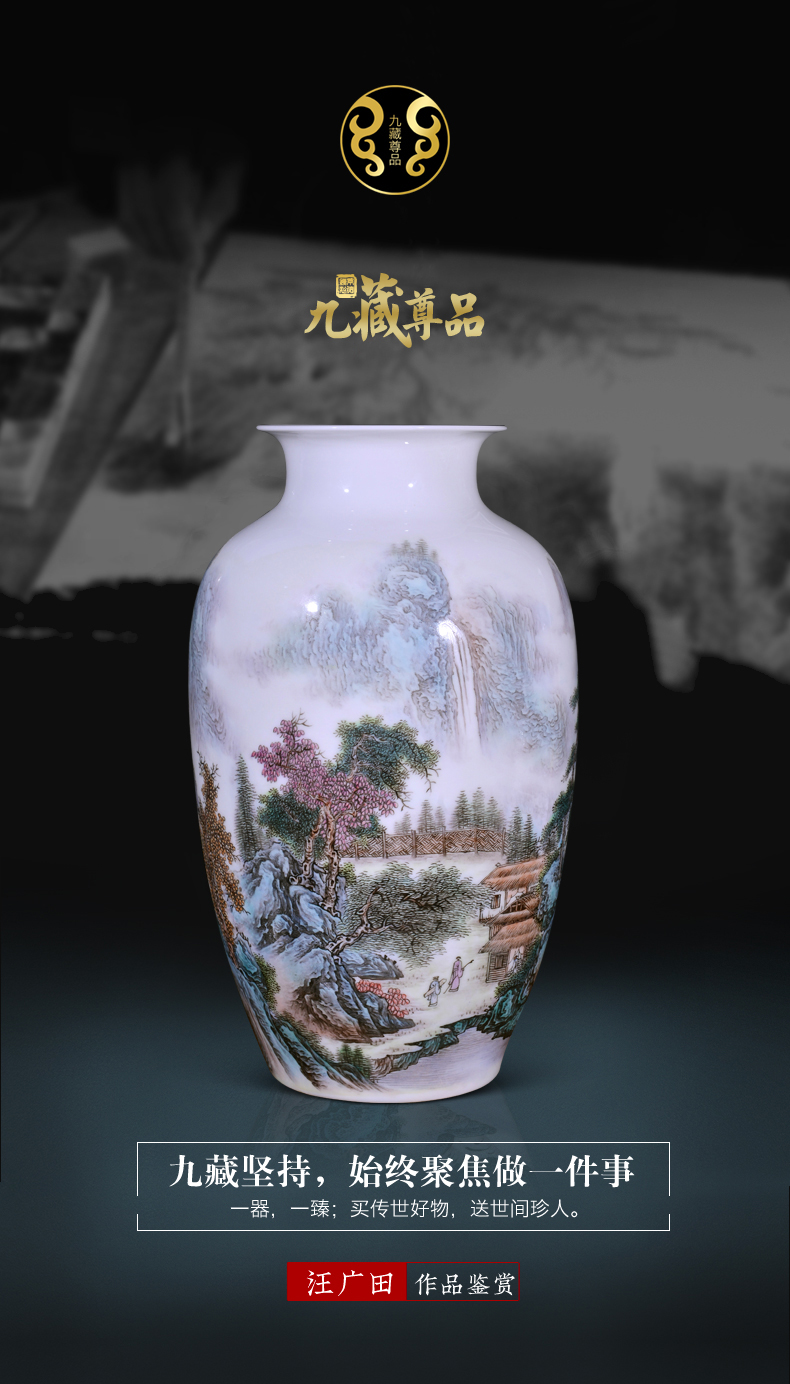 Jingdezhen ceramics Wang Guangtian hill singing spring goddess of mercy bottle Chinese style living room TV cabinet decorative furnishing articles arranging flowers